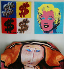 AUTHENTIC WARHOL POP ART RUG, 4 DOLLAR SIGN $ LOOKS HUGE WHEN HUNG HAS HARDWARE