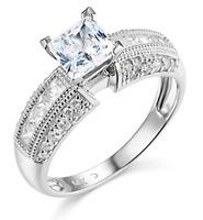 2.25 Ct Princess & Round Cut Engagement Wedding Ring Solid 14K White Gold