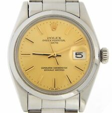 Mens Rolex Date Stainless Steel Watch Domed Bezel Gold Champagne Stick Dial 1500