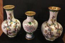 "3pc Set of White Cloisonne Flowered Vases 5"" to 6"" High   MAKE AN OFFER"