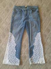 Midnight Velvet Womens Ladies Jeans - Size 12 - White Lace Beaded Design