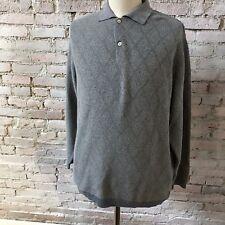 Ermenegildo Zegna Sweater Blue Gray Diamond Pattern Wool Blend XL