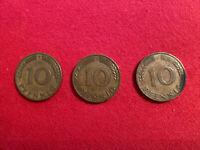 1950 BUNDESREPUBLIK DEUTSCHLAND 10 PFENNIG D COIN!With Two Other 1950 Coins F&G