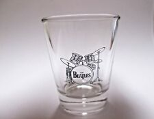 THE BEATLES DRUM SET LOGO  ON CLEAR  SHOT GLASS