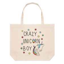 Crazy Unicorn Boy Large Beach Tote Bag - Funny Rainbows