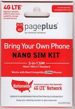 Page Plus 4G LTE Nano Sim Card iPhone X, XR, XS, SE & Max NEW