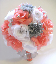 Wedding Bouquet 17 pc package Bridal Silk Flowers CORAL SILVER GRAY Flowers set