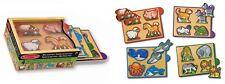 Puzzle a incastro in legno 16 animali fattoria gatto cane savana mare Melissa