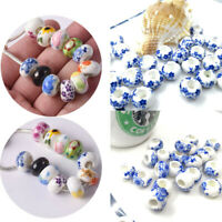 10X Ceramic Rondelle Charm Big Hole Beads Loose Spacer Bead Jewelry Finding
