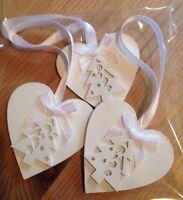 3 X Handmade Christmas Decorations Shabby Chic Christmas Tree Iridescent