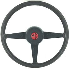 Genuine MG MGB GT Midget OEM black leather steering wheel and horn button.  1A