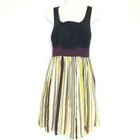 69a895840d26 Anthropologie Women's Dress Burlapp Bold Boutonniere Black Silk Rosette Size  S