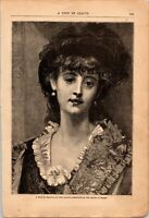 Antique Original 1881 A Type of Beauty Lady Etching Engraving Print, Paul Baudry
