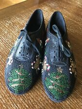 Women's 1996 ColorWerks Ugly Christmas Trees Beaded Sneakers Black Shoes 11M