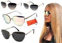 Damen Cateye Sonnenbrille Katzenaugen Retro Gold Braun Lila Schwarz Etui CT2 B41