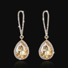 Wedding Champagne Gold Plated Tear Drop Earrings