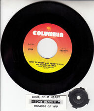 """TONY BENNETT & PERCY FAITH Cold, Cold Heart 7"""" 45 rpm record NEW + jukebox strip"""