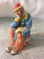 Cool Vintage The Emmitt Kelly Jr Collection Ceramic Clown Sleeping On A Rock Fla