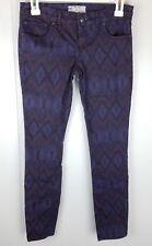 FREE PEOPLE Jeans 25 Purple Geometric Tribal Print Legging Womens Skinny