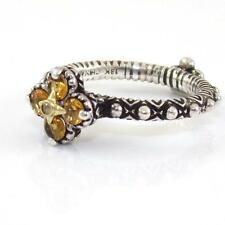 Barbara Bixby Sterling Silver 18K Gold Citrine Topaz Flower Ring Size 6.5 QX