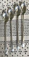 Oneida Tudor Plate Iced Tea Spoons Set of 4 'Queen Bess' Pattern