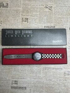 Swatch With Diamonds  Limelight Men's 1988 Checkered Band With Box