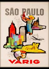 SAO PAULO BRAZIL SOUTH AMERICA VARIG VINTAGE REPRO TRAVEL AD ART PRINT POSTER