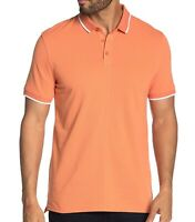John Varvatos Star USA Men's Short Sleeve Dover Tipped Pique Polo Shirt Papaya