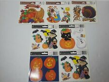 Vtg Lot of 7 1990's Halloween Thanksgiving Static Cling Window wall Decorations