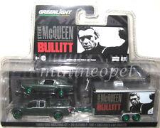 GREENLIGHT BULLITT STEVE MCQUEEN 1968 MUSTANG & TRAILER 1/64 SET GREEN MACHINE