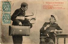 CPA Voyageur et Chef de Gare. 1. A. BERGERET (674679)