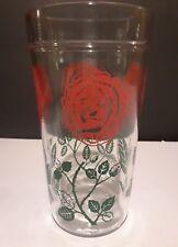 "Rose Peanut Butter Jar Glass Tumbler Red Vintage 5 1/2"" tall"