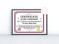 Mothers Day Novelty Gift Certificate Present For Mum Mummy Nanny Sister Auntie