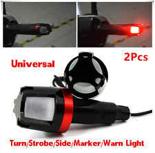 2Pcs Motorcycle Handlebar Turn Signal Grip Bar End LED Strobe Side Marker Lights