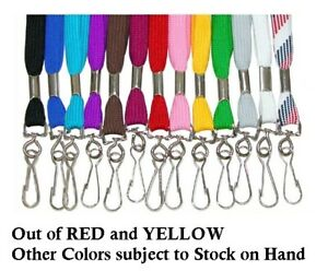 One (1) Flat Cotton Neck Strap Lanyard with Swivel Clip & Hook ~ You Pick Color