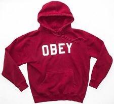 OBEY Hoodie Spell-Out 3M Reflective Logo Maroon Size MEDIUM