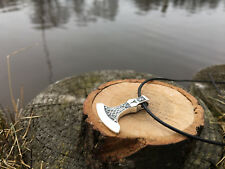 SOLID Sterling Silver 925 AXE WITH Algiz RUNE VIKING Pendant Amulet Ethnic
