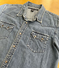 Vtg 90's Polo Ralph Lauren Western Pearl Snap Jean Jacket Shirt- Youth Medium 12