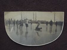 MAN FLAT ON HIS BACK WITH LEGS IN THE AIR WHILE ICE SKATING Vintage 1916 PHOTO