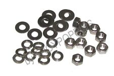 """SS 10-1/4""""-28 HEX NUTS & 10-FLAT-10-LOCK 1/4"""" WASHERS STAINLESS STEEL 18-8 PARTS"""