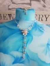 Lola Rose flower drop Pendant Necklace & Matching Bracelet
