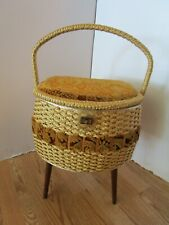 Mid Century JC PENNYS Sewing Basket Stand Wicker velvet satin tray & legs 1960s