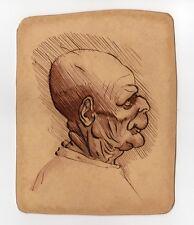 "Old Master Pen & Ink Caricature of a Bald Man ""after""Leonardo Da Vinci Grotesque"