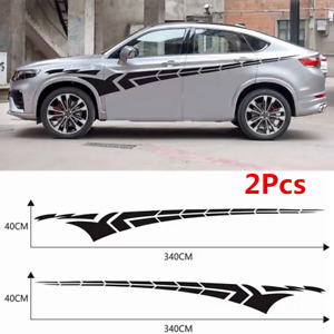 2Pcs 340x40cm Black Sticker PVC Vinyl Graphic Decal Fit SUV Racing Car Door Body