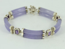 Purple Jadeite & Amethyst Bracelet Sterling Silver Ladies 925 21.2g Fz32