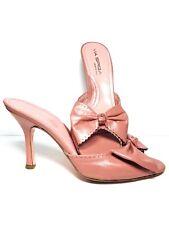 VIA SPIGA Heels Peep Toe Mule Sandals With Bow PINK Leather Slide On Womens 9 M