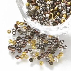 LOT de 500 PERLES RONDES à ECRASER 2mm MIX COULEURS création bijoux