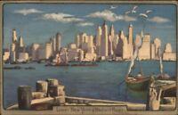 New York City Lower Manhattan Skyline Old Postcard
