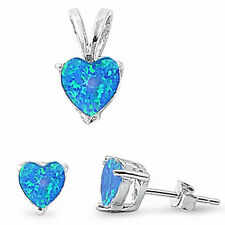 Blue Opal Heart .925 Sterling Silver Earrings & Pendant Set