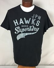 JPN Superdry Champion Sport Hawks Black Sportpitch Tee T Shirt Adult Size Large